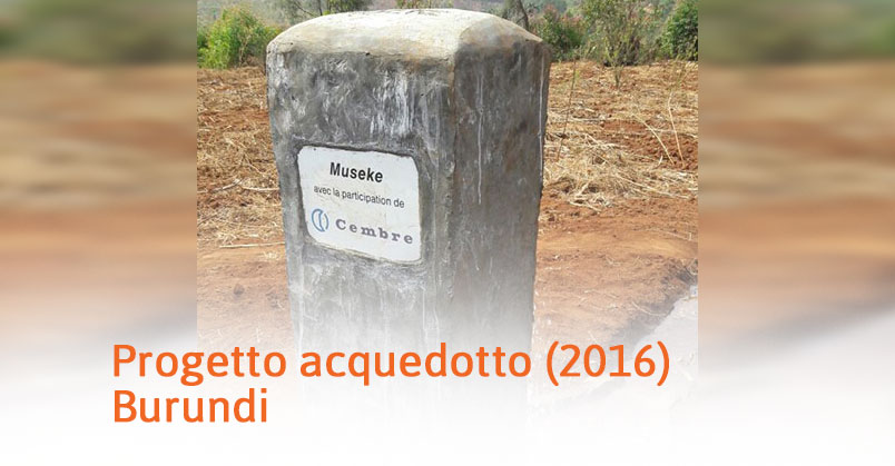 Burundi – Progetto acquedotto (2016)